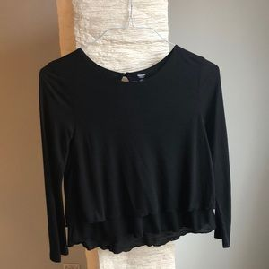 Black ruffled long sleeve